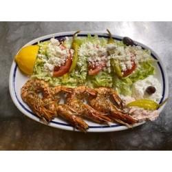 Grilled prawns with Greek...